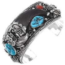 Bear Claw Turquoise Coral Cuff Bracelet 15893
