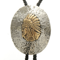 Hammered Silver Gold Indian Chief Bolo Tie 23392