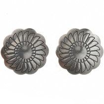 Sterling Silver Concho Earrings (Santa Fe Finish) 20757