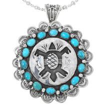 Overlaid Silver Turquoise Turtle Pendant 24701