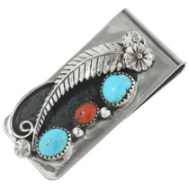American Indian Turquoise Coral Money Clip 24292