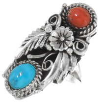 Navajo Turquoise Coral Ring 24587