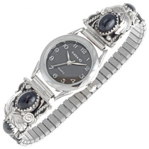 Navajo Onyx Silver Ladies Watch 23007