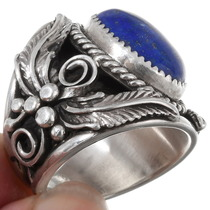 Lapis Silver Mens Ring 25688