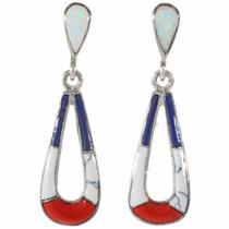 Southwest Inlaid Teardrop Post Dangle Earrings 16772