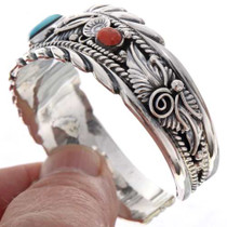 Turquoise Coral Cuff Bracelet 15680