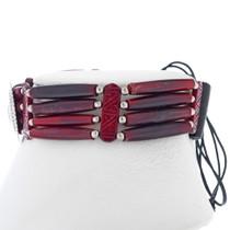 Silver Indian Leather Bone Choker 23407
