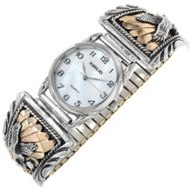 Gold Silver Native American Mens Watch 26055