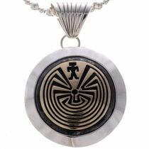 Gold Silver Man in the Maze Pendant
