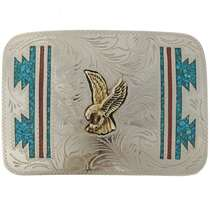 Turquoise Coral Silver Belt Buckle 10624