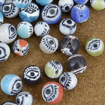1/4 Pound of 7mm Painted Glass Eye Beads