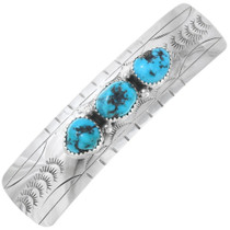 Turquoise Silver Navajo Hair Barrette 23458