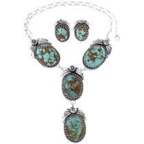 Navajo Turquoise Silver Y Necklace Set 14519