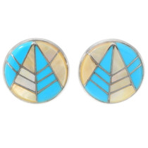 Native American Turquoise Round Earrings 26782