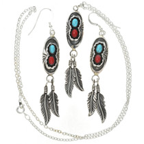 Navajo Turquoise Coral Pendant Set 26991