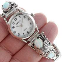 Opal Sterling Navajo Watch Bracelet 23037