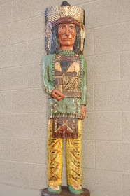 Carved Painted Aspen Wood Indian Chief 33961