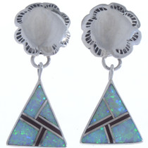 Opal Silver Dangle Post Earrings 15113