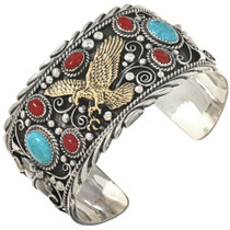 Turquoise Coral Eagle Big Boy Cuff 11328