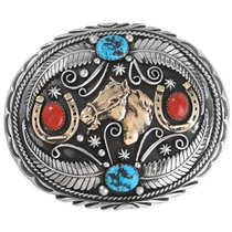 Turquoise Silver Gold Belt Buckle 17445