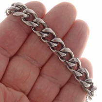 Mens Silver Copper Link Bracelet 25578