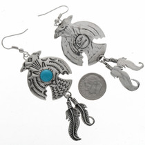 Turquoise Feather Silver Earrings 23839