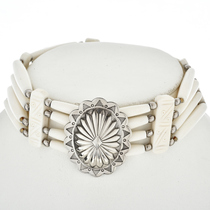 Indian Silver Concho Bone Choker 15244
