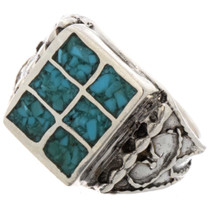 Turquoise Sterling Mens Ring 25516