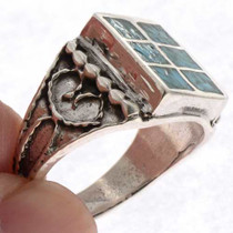 Navajo Inlaid Mens Signet Ring 25516