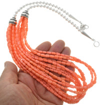 Southwest Coral Ten Strand Bead Necklace 23457
