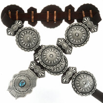 Navajo Hand Hammered Silver Concho Belt 17788