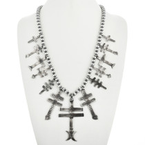 Navajo Silver Cross Squash Blossom Necklace 25743