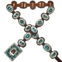 Native American Turquoise Western Concho Belt 25397