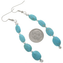 Turquoise Nugget Silver Earrings 28267