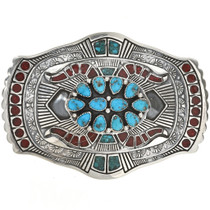 Natural Kingman Turquoise Coral Belt Buckle 28285