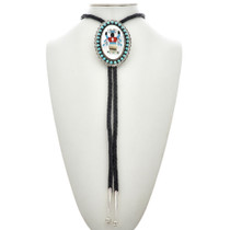 Native American Inlaid Turquoise Bolo Tie 23775