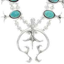Handmade Turquoise Squash Blossom Necklace 24911