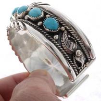 Heavy Gauge Silver Turquoise Cuff Bracelet 25544
