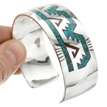Inlaid Turquoise Coral Cuff Bracelet 26001