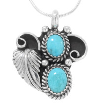 Turquoise Stone Silver Pendant  22257
