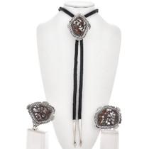 Navajo Wild Horse Silver Bolo Tie Set 10129