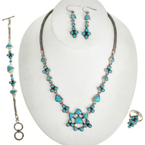 Blue Turquoise Southwest Necklace Set 11514