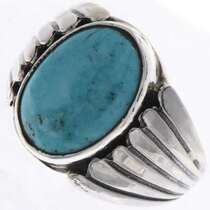 Turquoise Silver Mens Ring 25651