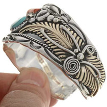 Turquoise Coral Native American Cuff18099