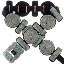 Turquoise Silver Concho Belt 19708