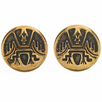 Gold Hopi Style Post Earrings 14669