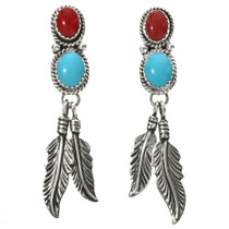 Turquoise Coral Indian Feather Earrings 29504