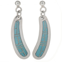 Blue Turquoise Silver Southwest Earrings 12481