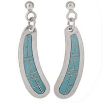 Blue Turquoise Silver Southwest Earrings 12481
