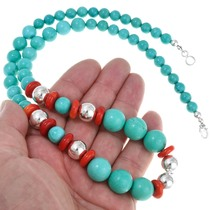 Chunky Silver Coral Beaded Necklace 29741